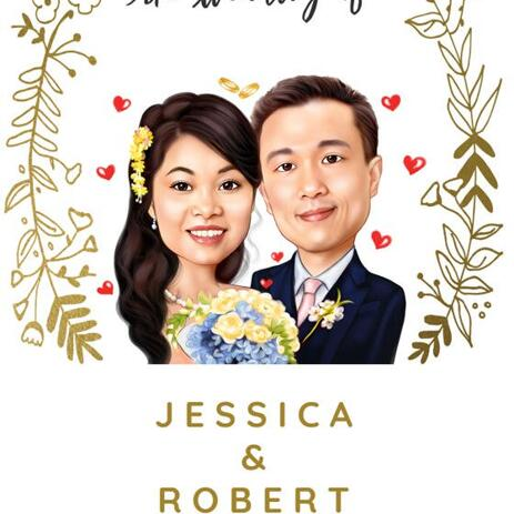 Bride and Groom Caricature on Invitations - example