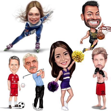 Caricatura esportiva de corpo inteiro em fotos coloridas - example