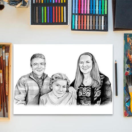 Black and White Family Portrait from Photos Poster Print Gift - example