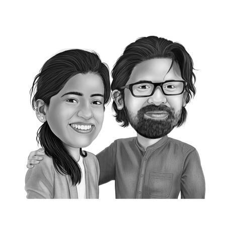 Two Persons Caricature Drawing from Photos in Black and White Style - example