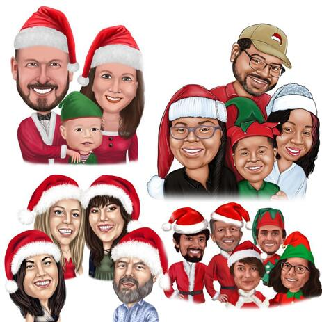 Christmas Group Caricature in Colored Style - example