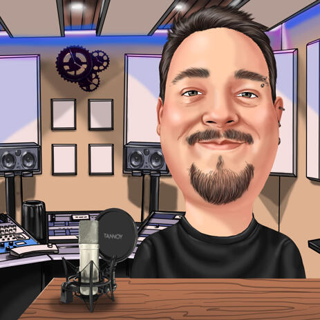 Digital Caricature from Photos with Custom Background - example