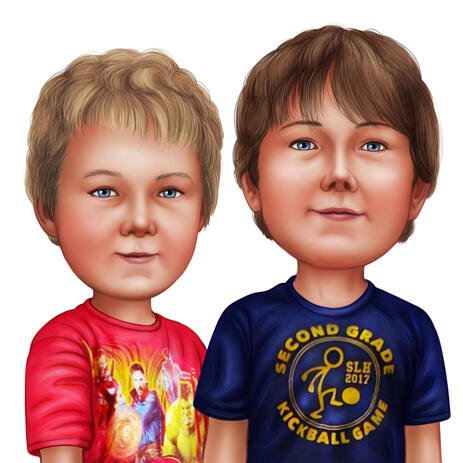 Two Children Caricature in Color Style on White Background from Photos - example