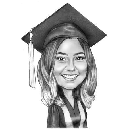 Черно-белый портрет выпускника нарисованный с фотографии - example