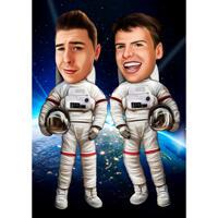 Astronauter i rymdkarikatyr i färgad stil på anpassad bakgrund