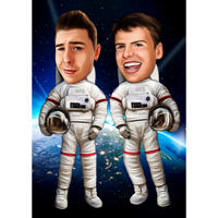 Astronauter i rumkarikatur i farvet stil på brugerdefineret baggrund