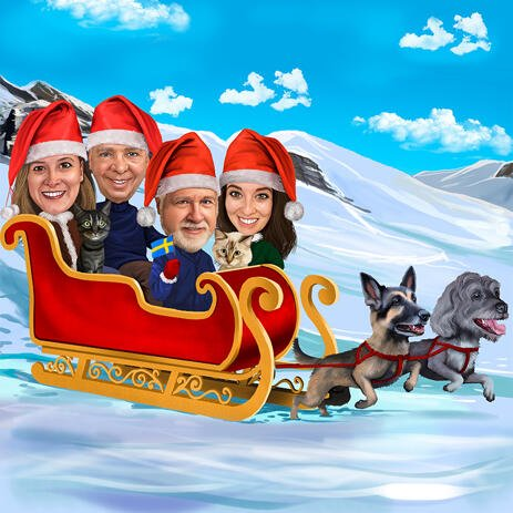 Christmas Group Caricature in Sleigh with Pets and Winter Background - example