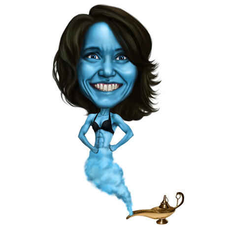 Magic Woman Lamp Gin Caricature in Colored Style from Photos - example