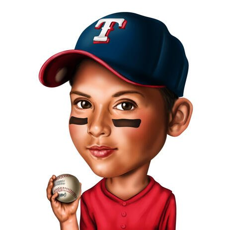 Sport Kid Caricature Holding a Baseball Ball Hand Drawn in Colored Style from Photo - example