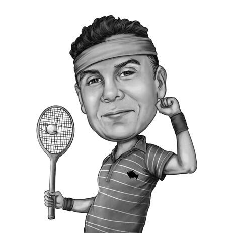 Custom Tennis Caricature from Photos with Tennis Racket - example