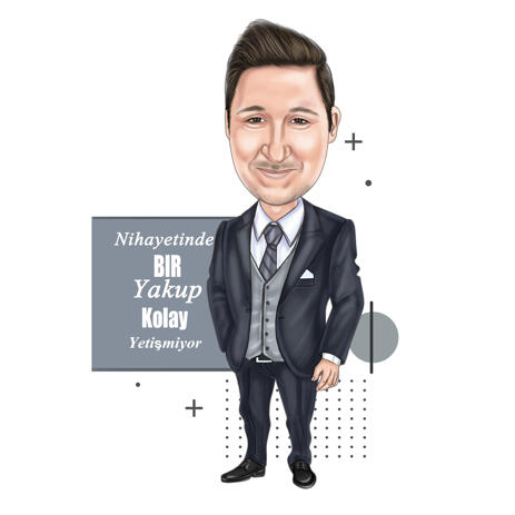 Person in Digital Full Body Cartoon Portrait for Business as Custom Job Caricature Gift - example