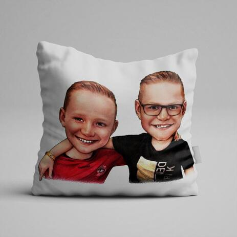 Friends Kids Caricature on Pillow - example