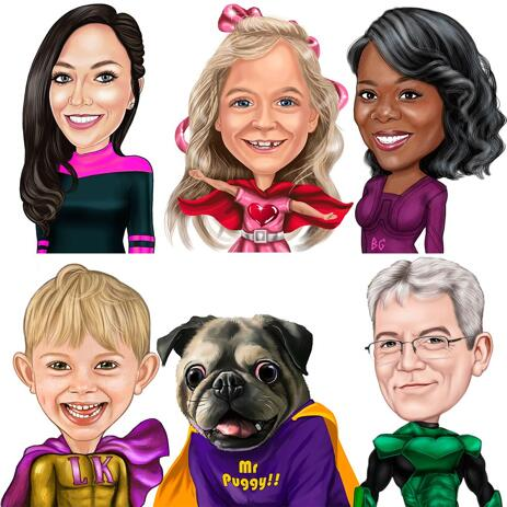 Custom Superhero Caricature in Colored Style from Photos - example