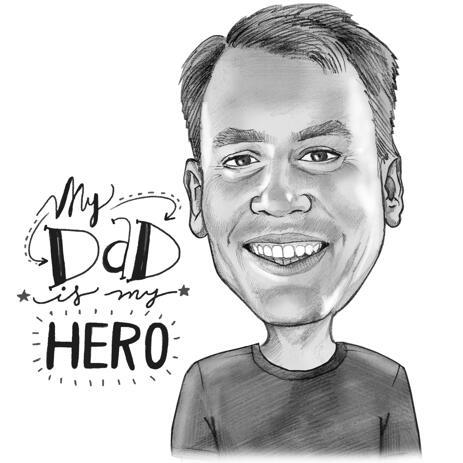 Digitālo karikatūru zīmējums Tēva dienā - example