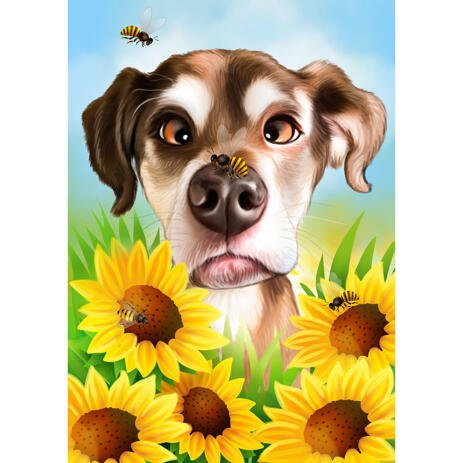 Funny Dog Caricature Drawing from Photo with Custom Background - example