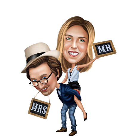 Cute Mr. and Mrs. Couple Caricature from Photos - example