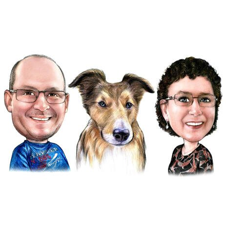 Couple with Collie Cartoon Caricature Hand Drawn in Colored Pencils from Photo - example