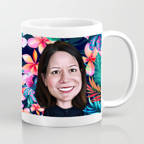 Photo Mug: Custom Cartoon Drawing from Photo in Colored Digital Style - example