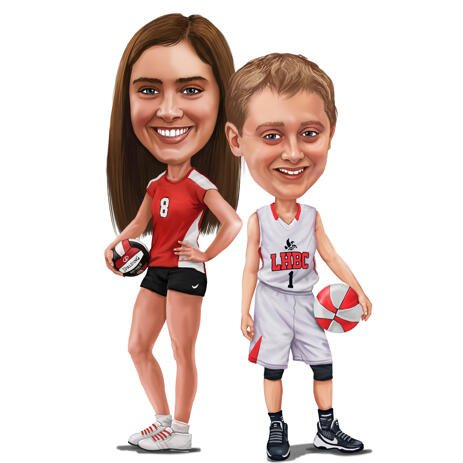 Sibling Kids Sport Caricature in Full Body Colored Style from Photos - example