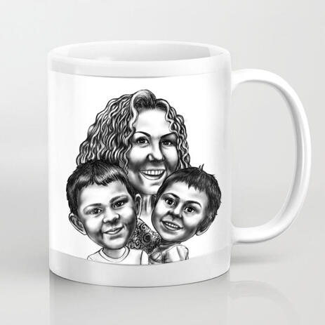 Mother with Sons Black and White Caricature from Photos Printed on Mug - example