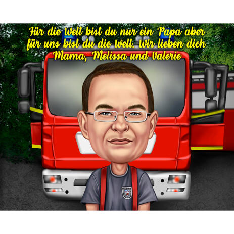Firefighter Caricature in Color Style with Fire Engine in the Background - example