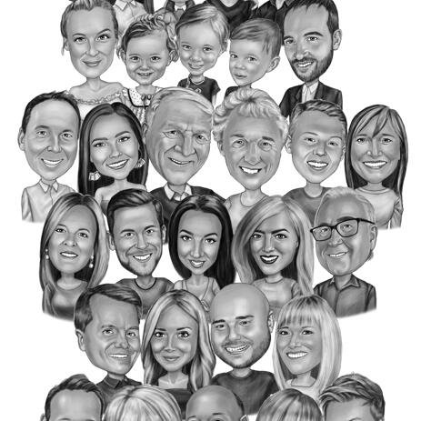 Big Family Caricature Drawing from Separate Photos - example