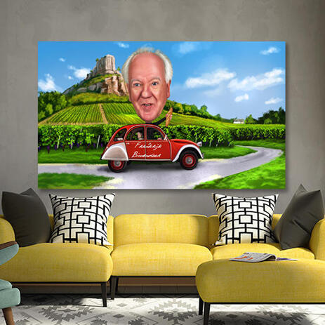 Person in Vehicle Cartoon Caricature with Custom Background Printed on Canvas - example