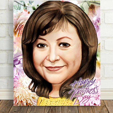 Printed Caricature on Canvas: Drawing of Photo in Caricature Style in Mother's Day Theme - example