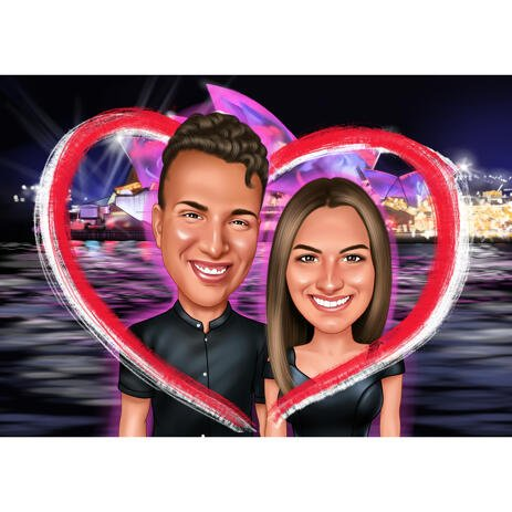 Couple in Heart Valentines Day Caricature Gift with Romantic Night Background - example