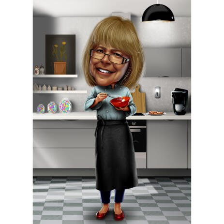 Cooking Caricature from Photos with Kitchen Background - example