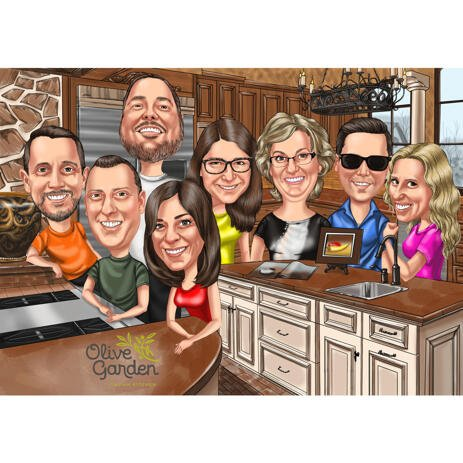 Handmade Corporate Caricature with Logo Cartoon Type Design from Photos with Custom Background - example