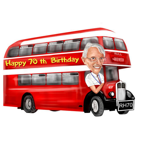 Bus Driver Caricature for Birthday Gift in Colored Style from Photo - example