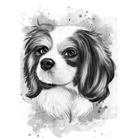 Spaniel Cartoon Portrait in Watercolor Graphite Style from Photos