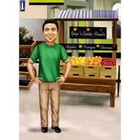 Fruktbutik säljare karikatyr i färgstil med anpassad bakgrund