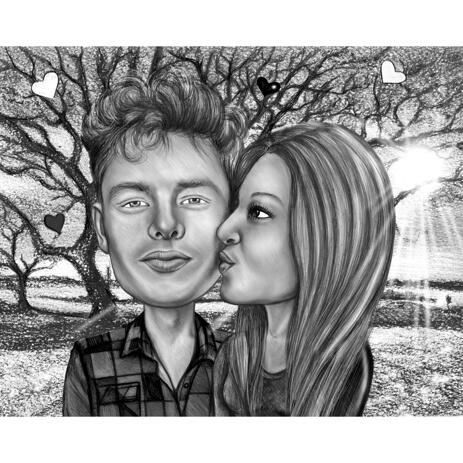 Amorous Kiss on Cheek Couple Drawing in Black and White Style with Custom Background - example