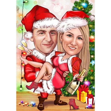 Personal Christmas Couple Caricature in Colored Style with Custom Background - example