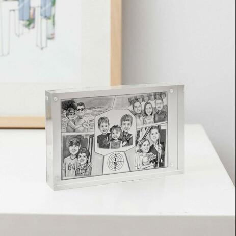 Family Collage Caricature as Photo Block - example
