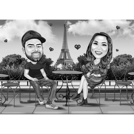 Full Body Black and White Couple Caricature with Romantic Paris Background - example