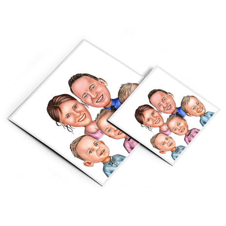 Family Portrait Caricature Print on Magnets - example