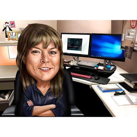 Bank Teller Cartoon Portrait from Photos with Custom Background - example