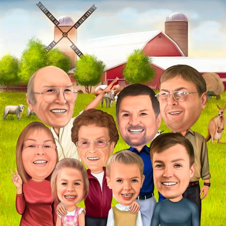 Thanksgiving Reunion Family Cartoon Caricature in Color with Custom Background - example