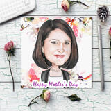 Custom Digital Drawing: Colored Cartoon of Woman Printed on Photo Paper