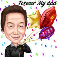 Vater-Geburtstags-Geschenk-Karikatur im farbigen digitalen Stil von Photo