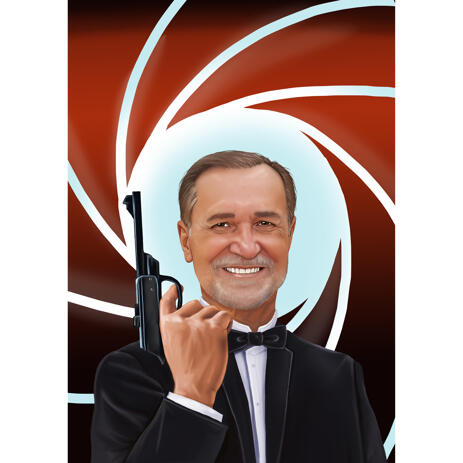 Agent James Bond Caricature from Photos - example