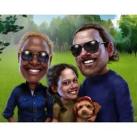 Family with Pets Cartoon Portrait in Color Style with Custom Background