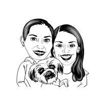 To personer med tegneserie til kæledyr fra fotos i konturkarikaturstil