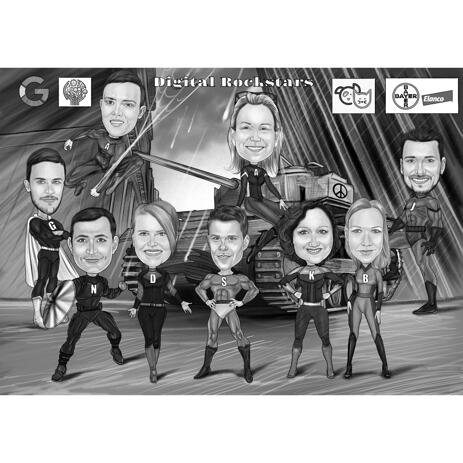 Company Group Superheroes Caricature in Black and White for Corporate Gift - example