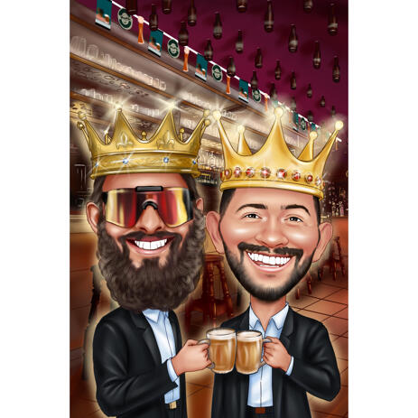 Colored Style Royal Kings Caricature Drawing for Two Persons from Photos - example
