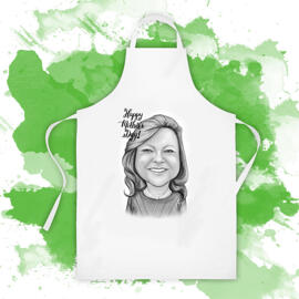 Print on Apron: Drawing of Woman in Cartoon Digital Style