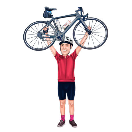 Person Holding Bike in the Air Full Body Custom Caricature from Photos - example